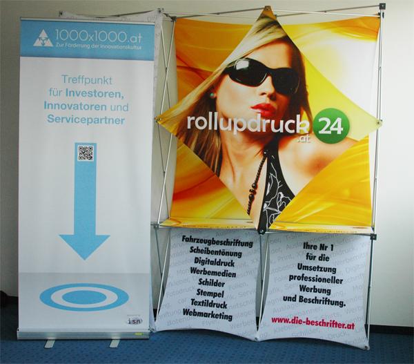 Rollup Produktionen mit Gratis Taschendruck